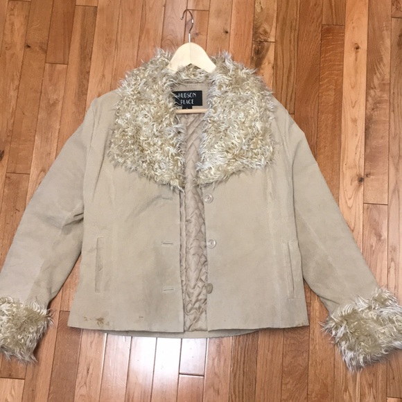 hudson place Jackets & Blazers - Suede jacket with faux fur